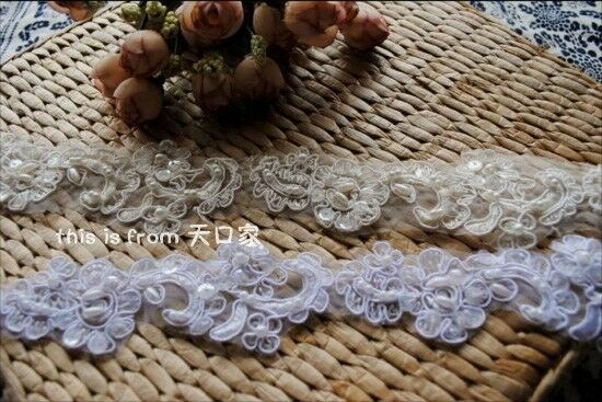 32 inches white beaded embroidery sequined lace for wedding dress shoes Decor