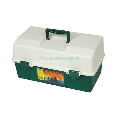 Green 3 Tray Cantilever Fishing Tackle Box Adjustable Compartments Lunar Box