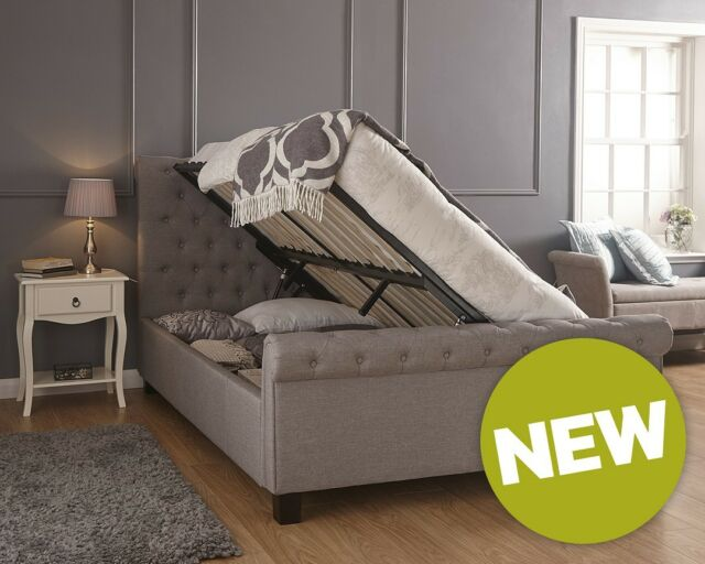 Wondrous 2019 Fabric Grey Ottoman Storage Side Lift Bed In 4Ft6 Double And 5Ft King Size Creativecarmelina Interior Chair Design Creativecarmelinacom