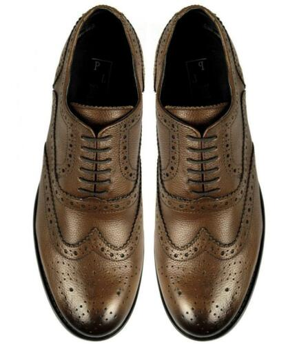 Mens Soft Leather Brogue Wingtip Lace-Up Formal Office Shoes Burnished Brown New