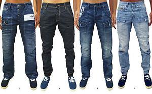 Mens-Designer-GIO-GOI-Jeans-Regular-Fit-Straight-Cuffed-Leg-Stylish-Denim-Pants