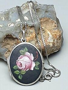 800 Silber Foto-Medaillon Jugendstil Matt-Email Rosenmotiv & Silberkette /A802