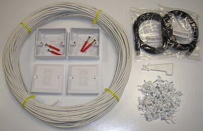 Caritatevole 40 M Cat5e Kit Prolunga Rete Interna Ethernet Kit 100% Rame-