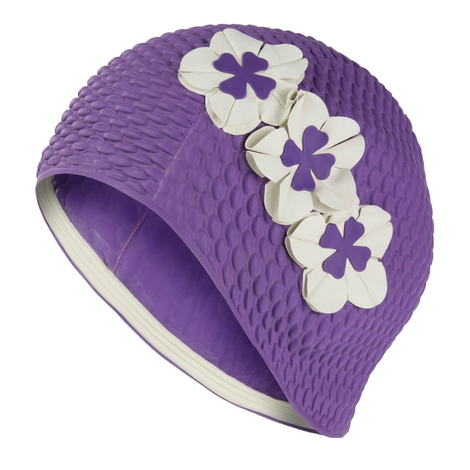 femmes violet natation bonnet blanches chapeau de avec 3 fleurs blanches bonnet bain casquette fd9c72