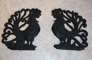Pair Of Vintage Cast Iron Roosters Wall Hanging Decor Mid Century