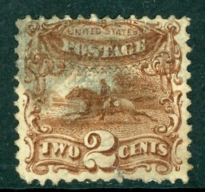 USA-1869-Pictorial-Issue-2-Horse-Rider-Scott-113-Brown-VFU-B718