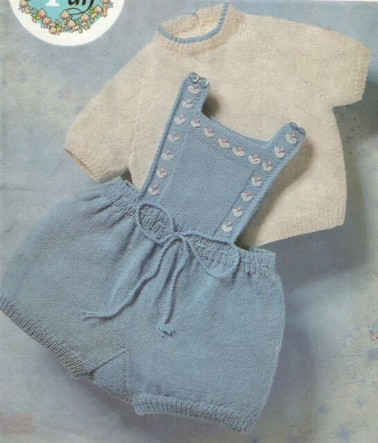 Baby Romper Shorts and Sweater Knitting Pattern : Babies 18, 20 & 22 inch chest