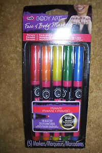 Tulip Body Art Face And Body Markers Primary 5 Markers New Ebay