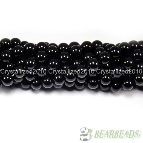 "Natural Black Onyx Gemstones Round Beads 2mm 3mm 4mm 5mm 6mm 8mm 10mm 12mm 15.5/"""