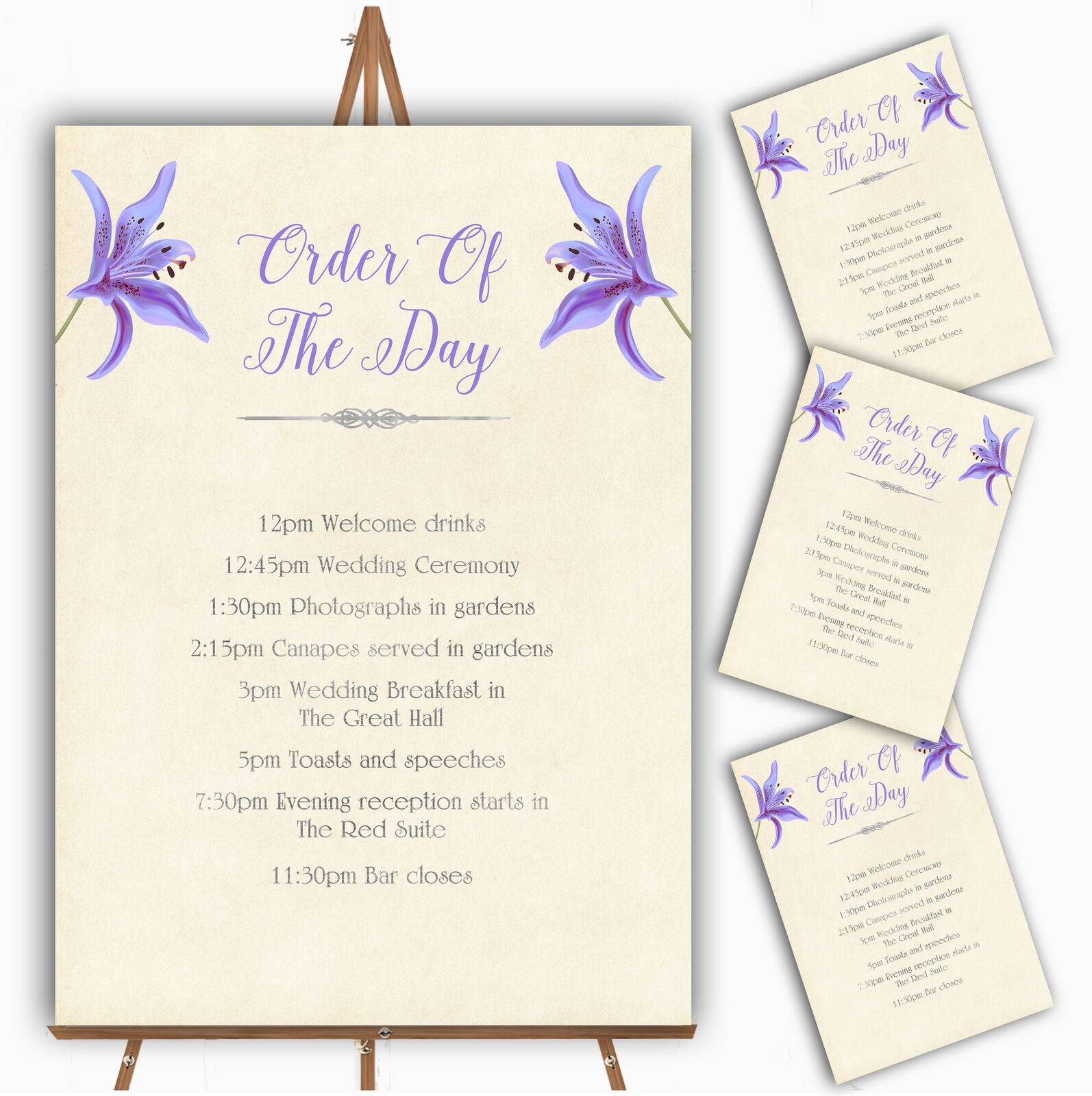 lila Lily Vintage Personalised Wedding Order Of The Day Cards & Signs