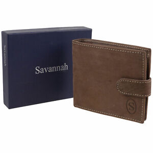 Mens-Hunter-Leather-Wallet-with-Tab-amp-Change-Pocket-Savannah-Gift-Boxed