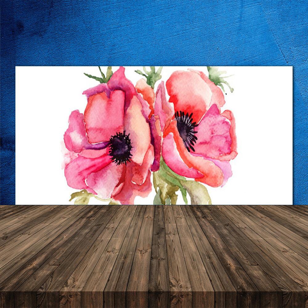 Crédence de cuisine en verre Panneau 120x60 Floral Fleurs Aquarelle