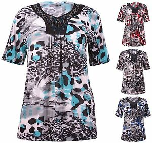 Womens-Plus-Size-Top-Short-Sleeve-Printed-Diamante-Neck-Stretch-Ladies-T-Shirt