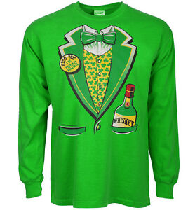 ed39ac10a st patricks day t-shirt funny Irish tuxedo green shirt leprechaun ...