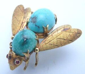 18K Gold/ Turquoise Bumblebee Brooch- Fullsized Art Piece