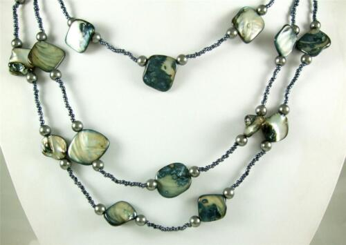 """3 Strand en cascade Mother of Pearl Shell 30/"""" Longues Perles Collier Bijoux AA202"""