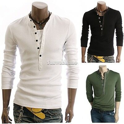 New Mens Slim Fit V-neck T-shirt Long Sleeve Henley Tee Shirt Tops M L XL XXL SH