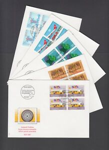 Switzerland-Mi-1335-1357-1987-issues-5-complete-sets-in-blocks-of-4-on-19-FDCs