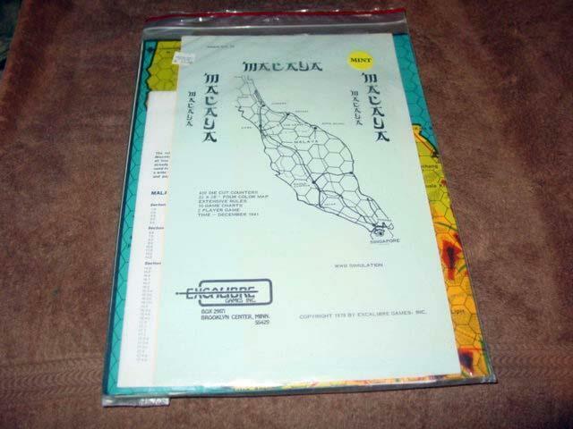 Excalibur spel 1978 - Malaya - WWIl Simulering zip (UNPUNCHED) Sällsynt vit front