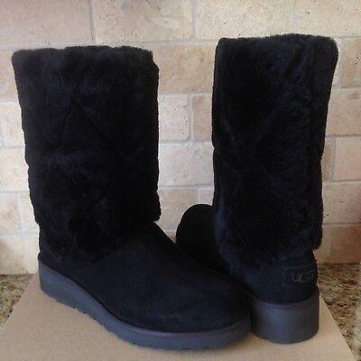 87ba7bbf18a UGG Ariella Luxe Diamond Black Suede Fur Cuff Wedge Boots Size US 8 Womens  | eBay