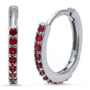 Ruby-Huggie-Hoop-Earrings-in-Solid-Sterling-Silver-JULY-BIRTHSTONE