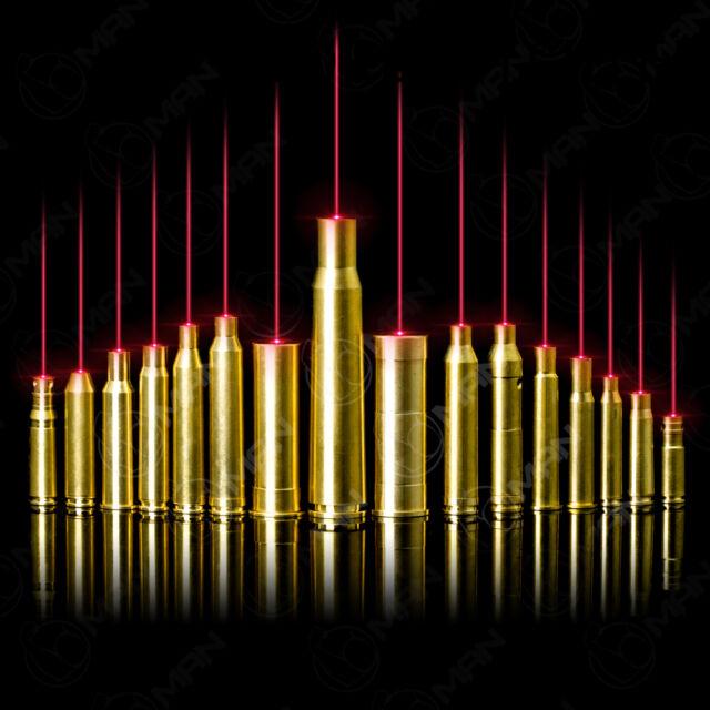 9mm/12GA/30-30WIN Red Dot Laser Bore sight Brass Cartridge Boresighter&battery