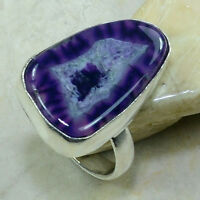 Gorgeous Unique Purple Green Drusy Agate Ring Size 7 1/2 Free Shipping