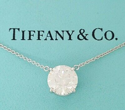 Tiffany Co 2 31 Ct Platinum Round Diamond Solitaire Pendant 16 Retail 75k Ebay
