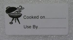 100 x BBQ Food Labels - COOKED on USE by stickers Great for XMAS / BBQ Leftovers