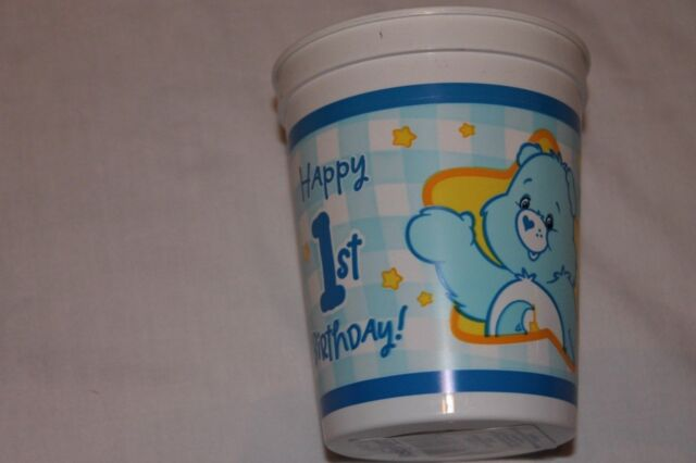 NEW BOYS BLUE  CARE BEARS 1ST BIRTHDAY 12 STADIUM CUPS  PARTY SUPPLIES