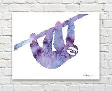 Sloth Art Print Abstract Watercolor Painting Animal Nursery Wall Decor