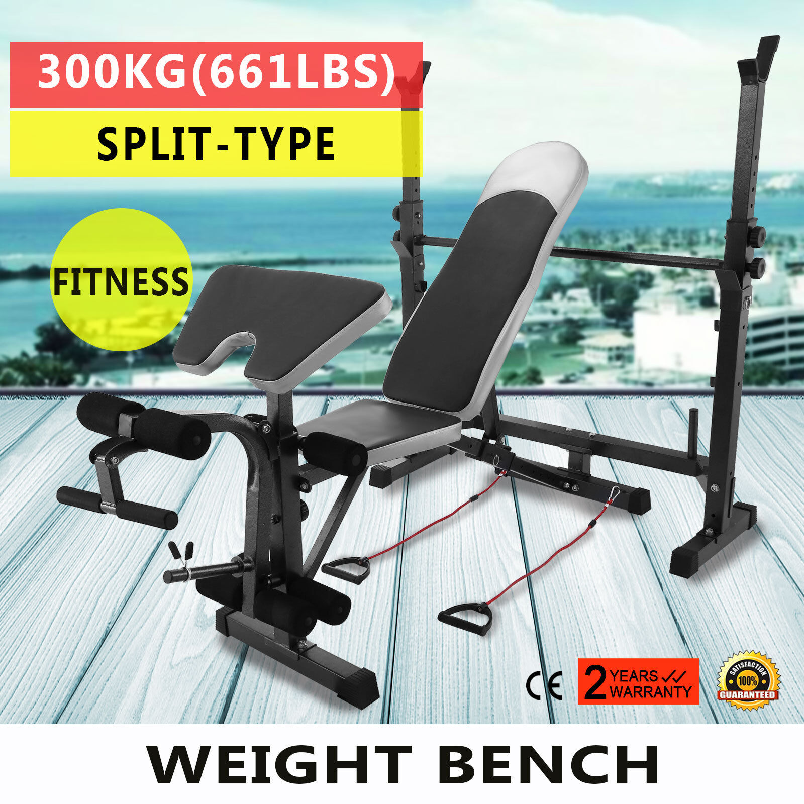 Weight Lifting Bench 660 LBS Fitness Home  Gym Bench Set Steel Multi Station  fast shipping to you