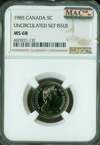 1985-CANADA-5-CENTS-NGC-MAC-MS-68-PQ-2nd-FINEST-GRADED-POP-2-SPOTLESS