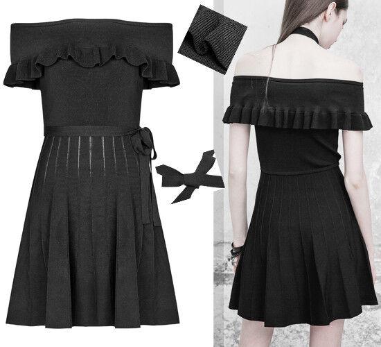 Robe patineuse maille gothique lolita fashion plissé volant épaule nue PunkRave
