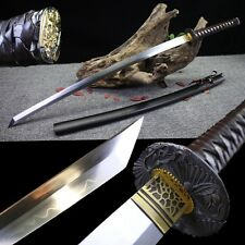 Clay Tempered T10 Steel Japanese Samurai Sword Katana Sharp Blade Handmade #3699