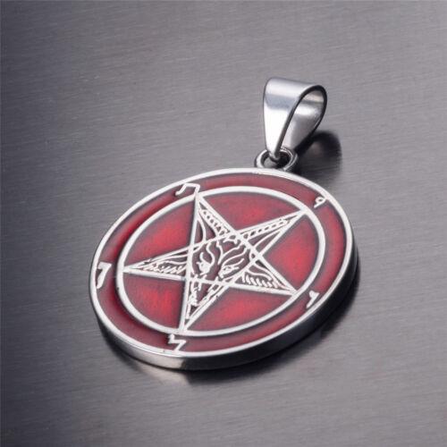 Les Deux Faces Rouge Baphomet chèvre Talisman de Lucifer en acier inoxydable collier pendentif