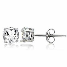 925 Sterling Silver 2ct White Topaz Stud Earrings