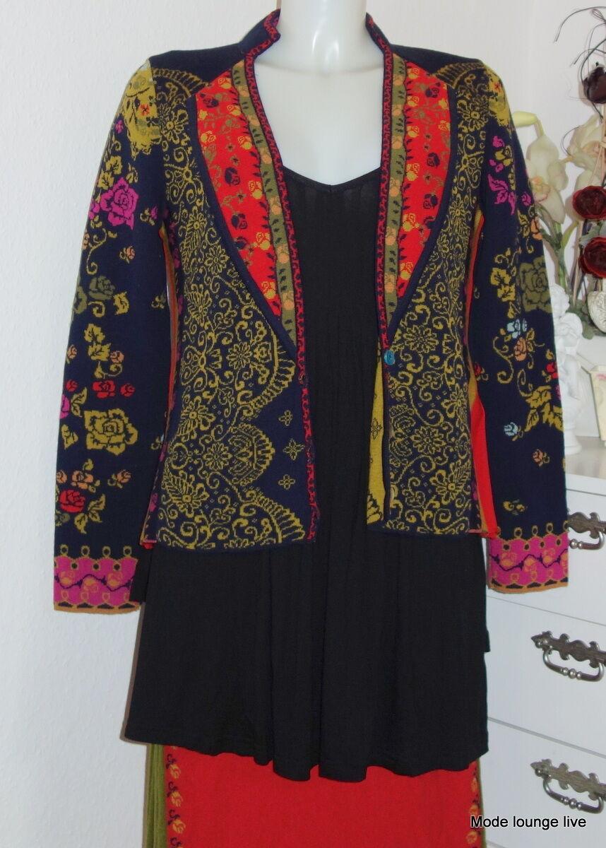 IVKO laine mérinos veste marine Vasilisa Veste à fleurs motif plis marine 42504