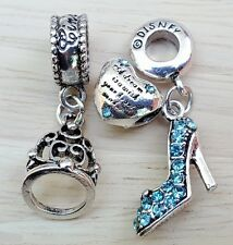 Disney Cinderella Dream Is A Wish Heart Tiara Slipper Shoe European Beads Charms
