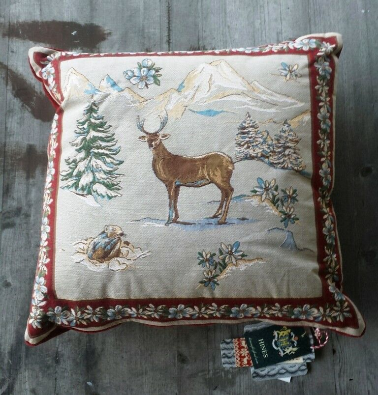 Hines of Oxford Winter Scene Tapestry Tapestry Tapestry Pillow – Reindeer - New 2dfd7e