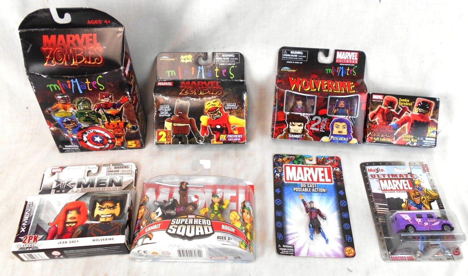 Lot of 8 Marvel Packs of Miniature Figurines, Mostly Minimates Zombies, MIB MOC