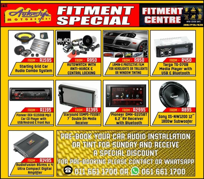 Discount on fitment, car audio installations, alarm and security etc if pre booked for a Sunday. Ope