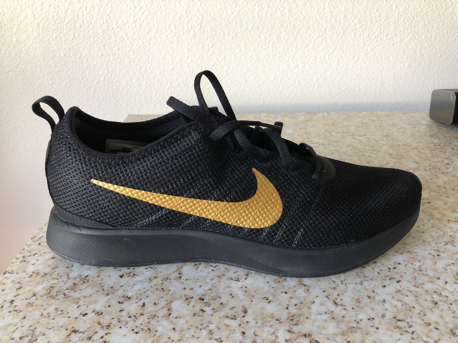 Nike Dualtone Racer Uomo 918227-007 Nero Metallic Gold Running Shoes Size 10
