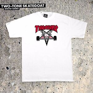 Thrasher-Magazine-TWO-TONE-SKATE-GOAT-Skateboard-Shirt-WHITE-MEDIUM