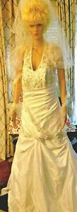 A21-341-VNTG-Sz16-Halter-Trumpet-Princess-Wedding-Dress-Bridal-Gown-Veil-amp-Heels