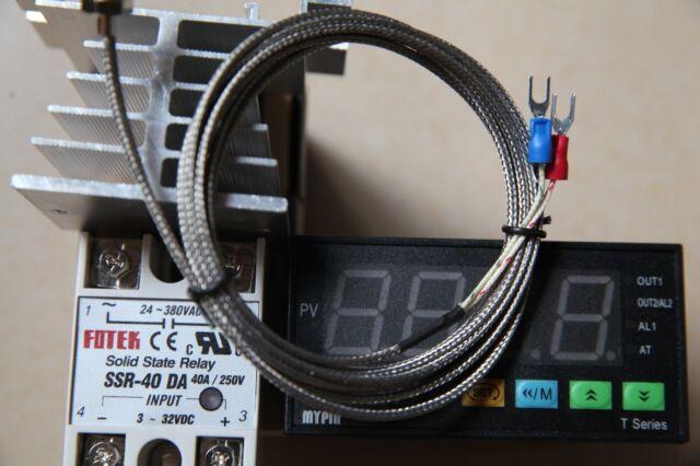 2m K sensor 60A SSR Digital F//C PID Temperature Controller Thermostat TA4-SNR