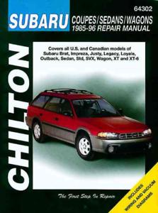 Chilton Workshop Manual SUBARU OUTBACK Brat Impreza Legacy SVX 1985-1996 service