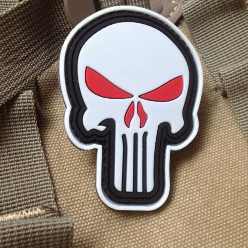 GLOW PUNISHER SKULL USA ARMY TACTICAL HOOK MORALE BADGE 3D PVC PATCH