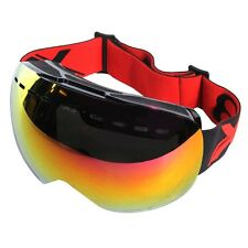 SKI GOGGLES X3 SG-1 RED ANTI FOG SPHERICAL LENS ADJUSTABLE STRAP SNOWBOARD UV400