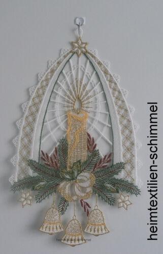 Plauener dentelle ® Fensterbild Noël Cloches Bougie Cloche Hiver deco étoile